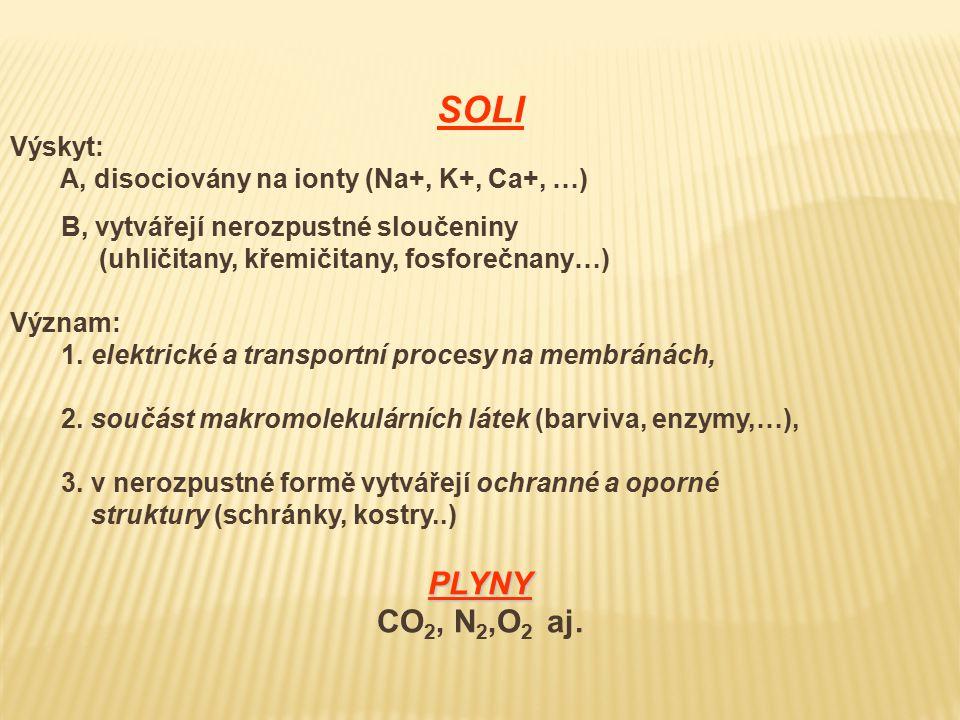 SOLI Výskyt: A, disociovány na ionty (Na+, K+, Ca+, …) B, vytvářejí nerozpustné sloučeniny (uhličitany, křemičitany, fosforečnany…) Význam: 1.