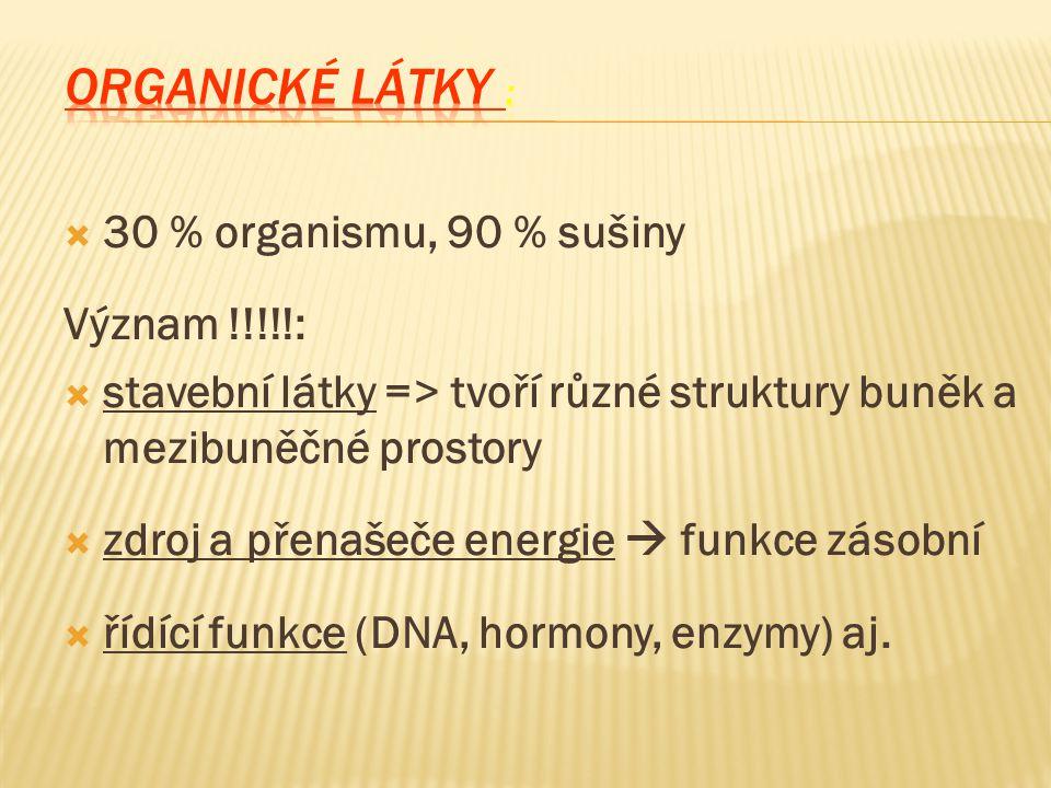  30 % organismu, 90 % sušiny Význam !!!!!:  stavební látky => tvoří různé struktury buněk a mezibuněčné prostory  zdroj a přenašeče energie  funkce zásobní  řídící funkce (DNA, hormony, enzymy) aj.