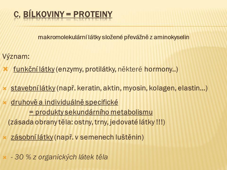 makromolekulární látky složené převážně z aminokyselin Význam:  funkční látky (enzymy, protilátky, některé hormony..)  stavební látky (např. keratin