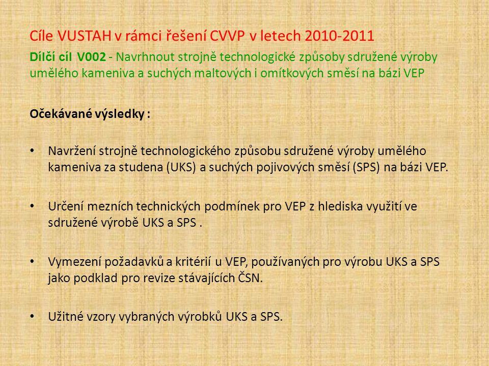 Cíle VUSTAH v rámci řešení CVVP v letech 2010-2011 Dílčí cíl V002 - Navrhnout strojně technologické způsoby sdružené výroby umělého kameniva a suchých