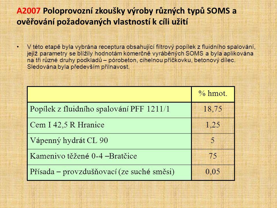 A2007 Poloprovozní zkoušky výroby různých typů SOMS a ověřování požadovaných vlastností k cíli užití V této etapě byla vybrána receptura obsahující fi