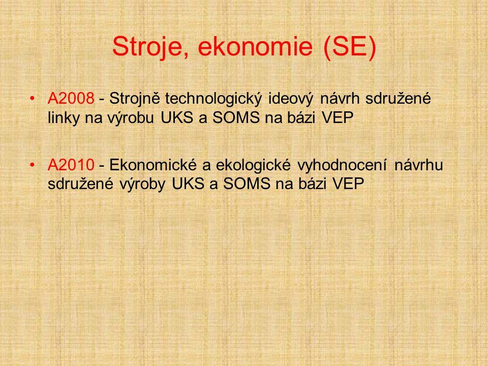 Stroje, ekonomie (SE) A2008 - Strojně technologický ideový návrh sdružené linky na výrobu UKS a SOMS na bázi VEP A2010 - Ekonomické a ekologické vyhodnocení návrhu sdružené výroby UKS a SOMS na bázi VEP