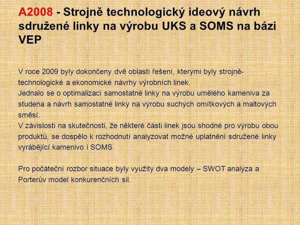 A2008 - Strojně technologický ideový návrh sdružené linky na výrobu UKS a SOMS na bázi VEP V roce 2009 byly dokončeny dvě oblasti řešení, kterými byly strojně- technologické a ekonomické návrhy výrobních linek.