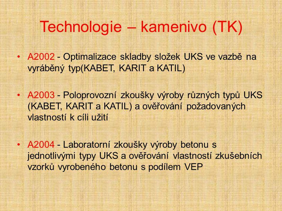 Technologie – kamenivo (TK) A2002 - Optimalizace skladby složek UKS ve vazbě na vyráběný typ(KABET, KARIT a KATIL) A2003 - Poloprovozní zkoušky výroby různých typů UKS (KABET, KARIT a KATIL) a ověřování požadovaných vlastností k cíli užití A2004 - Laboratorní zkoušky výroby betonu s jednotlivými typy UKS a ověřování vlastností zkušebních vzorků vyrobeného betonu s podílem VEP