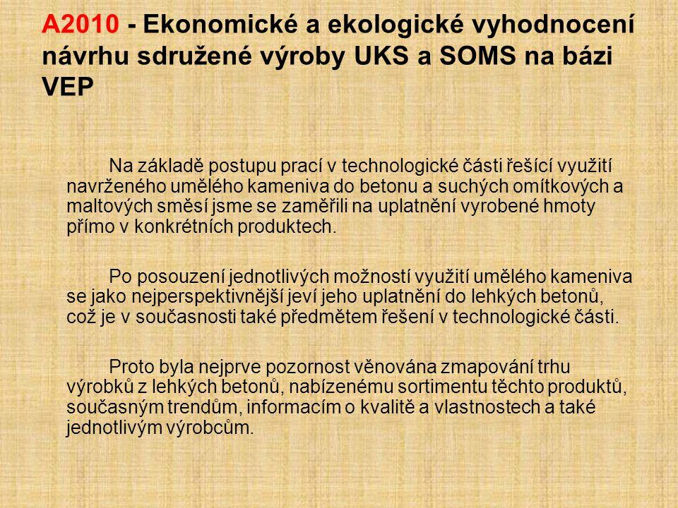 A2010 - Ekonomické a ekologické vyhodnocení návrhu sdružené výroby UKS a SOMS na bázi VEP Na základě postupu prací v technologické části řešící využit