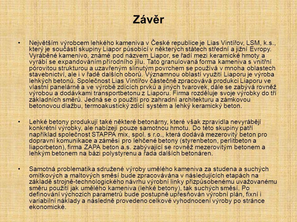 Závěr Největším výrobcem lehkého kameniva v České republice je Lias Vintířov, LSM, k.s., který je součástí skupiny Liapor působící v některých státech střední a jižní Evropy.