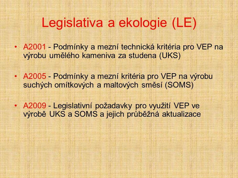 Legislativa a ekologie (LE) A2001 - Podmínky a mezní technická kritéria pro VEP na výrobu umělého kameniva za studena (UKS) A2005 - Podmínky a mezní kritéria pro VEP na výrobu suchých omítkových a maltových směsí (SOMS) A2009 - Legislativní požadavky pro využití VEP ve výrobě UKS a SOMS a jejich průběžná aktualizace