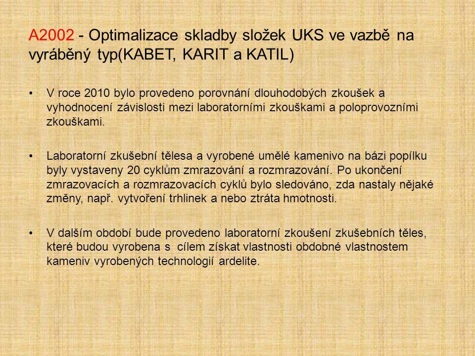 A2002 - Optimalizace skladby složek UKS ve vazbě na vyráběný typ(KABET, KARIT a KATIL) V roce 2010 bylo provedeno porovnání dlouhodobých zkoušek a vyhodnocení závislosti mezi laboratorními zkouškami a poloprovozními zkouškami.