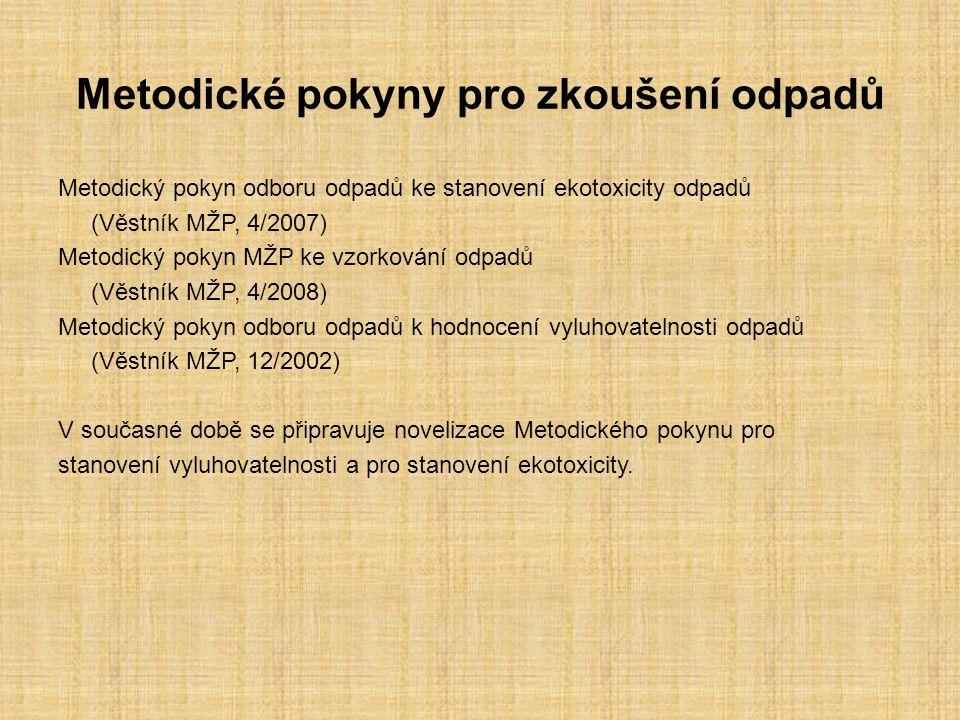 Metodické pokyny pro zkoušení odpadů Metodický pokyn odboru odpadů ke stanovení ekotoxicity odpadů (Věstník MŽP, 4/2007) Metodický pokyn MŽP ke vzorkování odpadů (Věstník MŽP, 4/2008) Metodický pokyn odboru odpadů k hodnocení vyluhovatelnosti odpadů (Věstník MŽP, 12/2002) V současné době se připravuje novelizace Metodického pokynu pro stanovení vyluhovatelnosti a pro stanovení ekotoxicity.