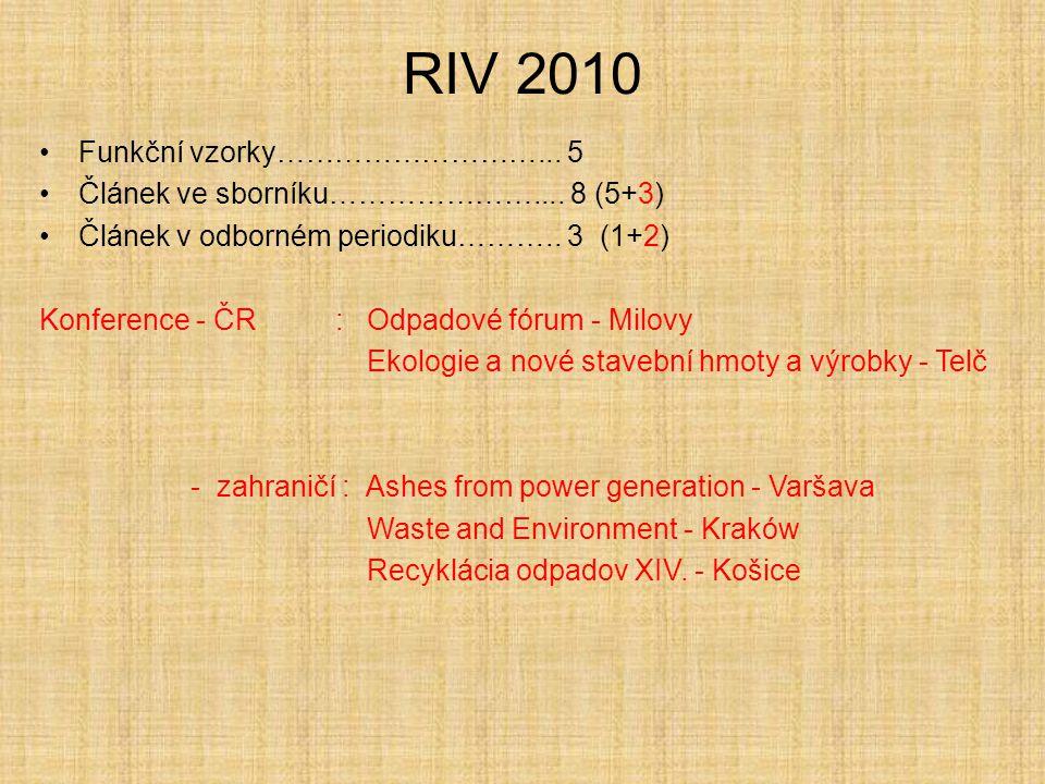RIV 2010 Funkční vzorky………………………... 5 Článek ve sborníku………………….... 8 (5+3) Článek v odborném periodiku……….. 3 (1+2) Konference - ČR : Odpadové fórum