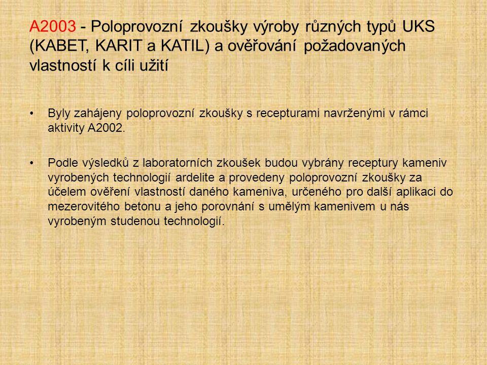 A2003 - Poloprovozní zkoušky výroby různých typů UKS (KABET, KARIT a KATIL) a ověřování požadovaných vlastností k cíli užití Byly zahájeny poloprovozn