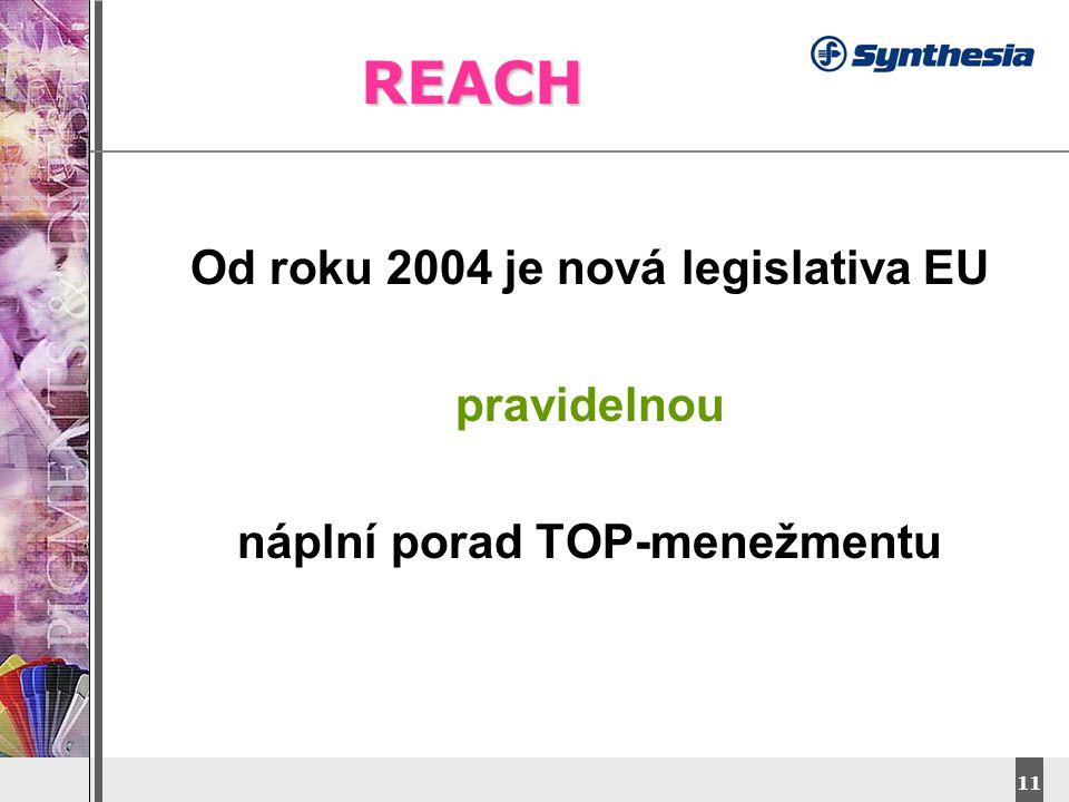 DyStar – Aliachem meeting 11 REACH Od roku 2004 je nová legislativa EU pravidelnou náplní porad TOP-menežmentu