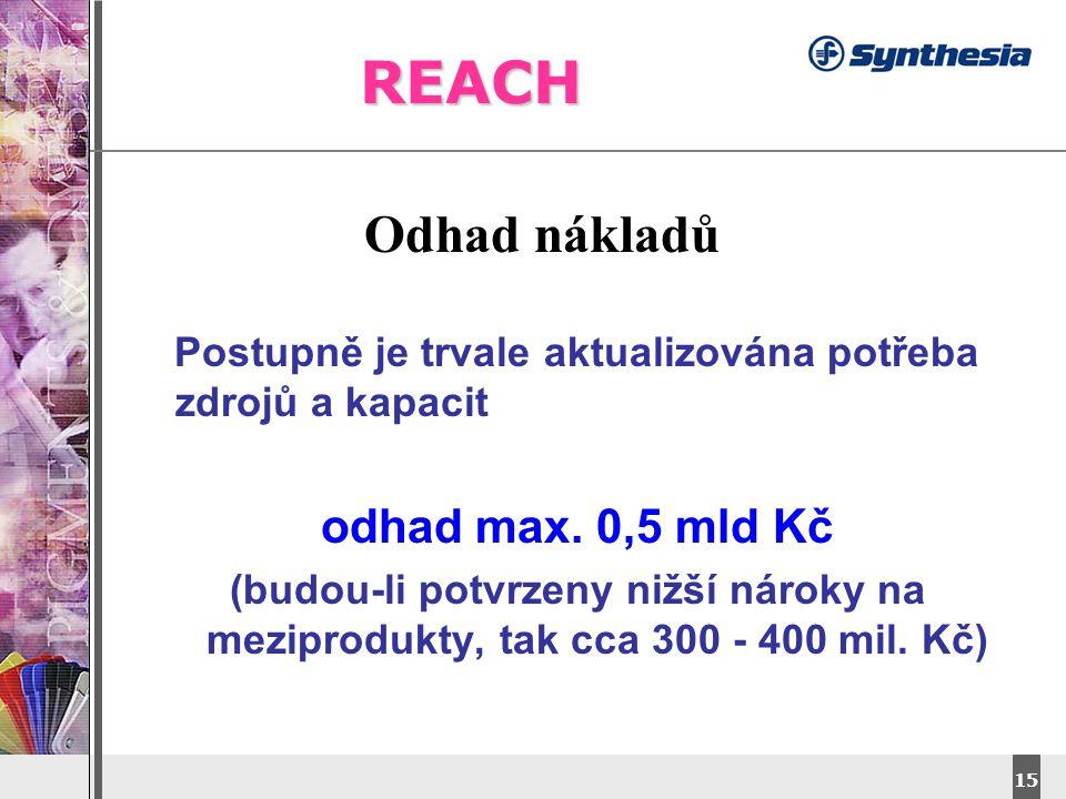 DyStar – Aliachem meeting 15 REACH Odhad nákladů Postupně je trvale aktualizována potřeba zdrojů a kapacit odhad max.