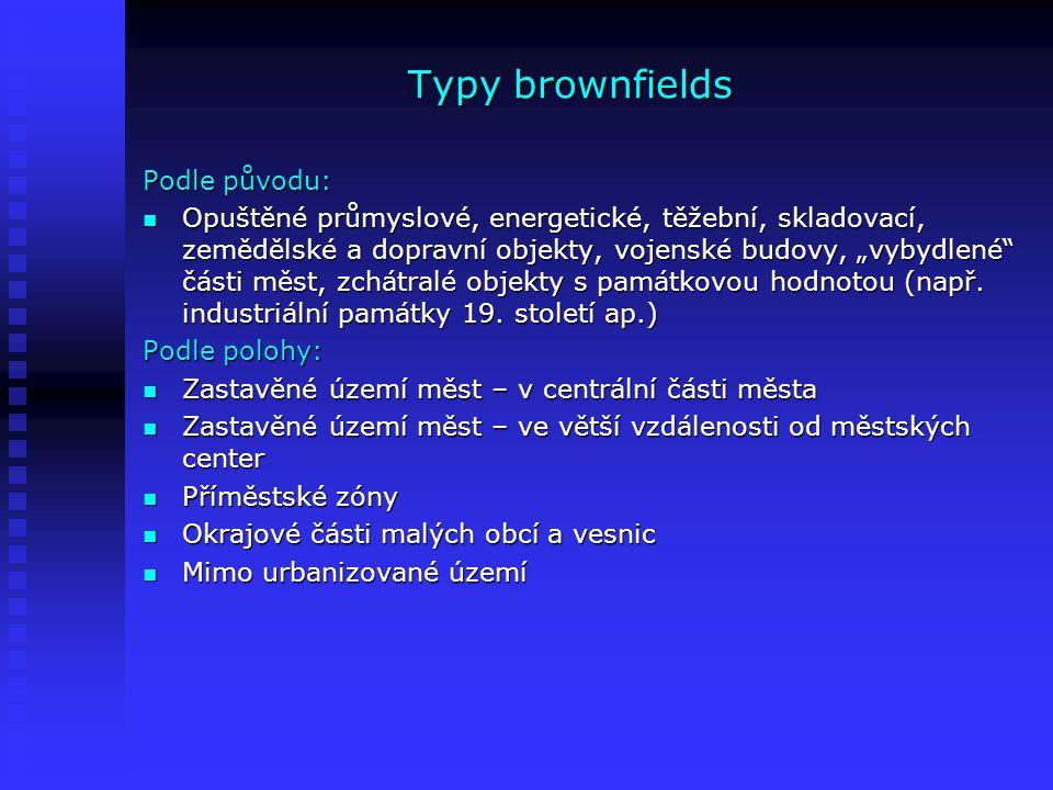 Typy brownfields II Typy brownfields z ekonomického hlediska: Pokud se nevyužité nebo podvyužité objekty nachází v atraktivní lokalitě, postará se o ně sám trh a není třeba do nich investovat veřejné prostředky Pokud se nevyužité nebo podvyužité objekty nachází v atraktivní lokalitě, postará se o ně sám trh a není třeba do nich investovat veřejné prostředky Naopak brownfields umístěná v nezajímavé lokalitě většinou potřebují velmi silnou podporu, a to buď ve formě nefinanční nebo přímo veřejné prostředky Naopak brownfields umístěná v nezajímavé lokalitě většinou potřebují velmi silnou podporu, a to buď ve formě nefinanční nebo přímo veřejné prostředky U pozemků, pro které nové využití není možné nalézt, je jediným řešením rekultivace U pozemků, pro které nové využití není možné nalézt, je jediným řešením rekultivace