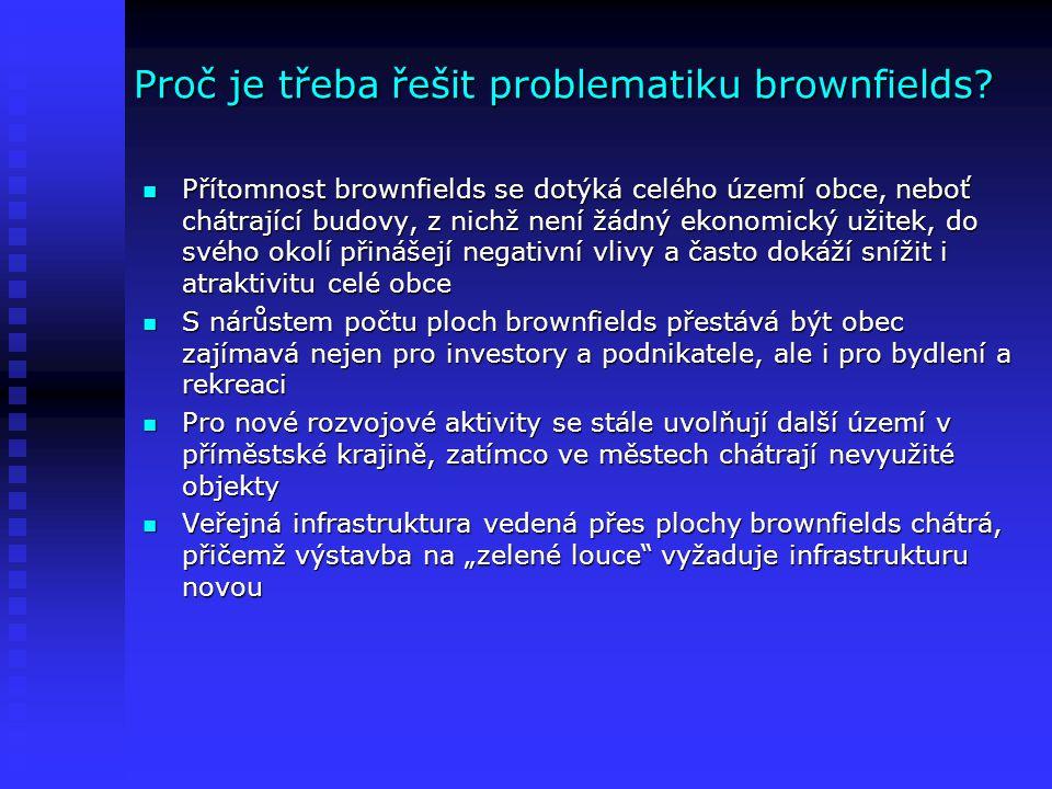 Proč je třeba řešit problematiku brownfields? Přítomnost brownfields se dotýká celého území obce, neboť chátrající budovy, z nichž není žádný ekonomic