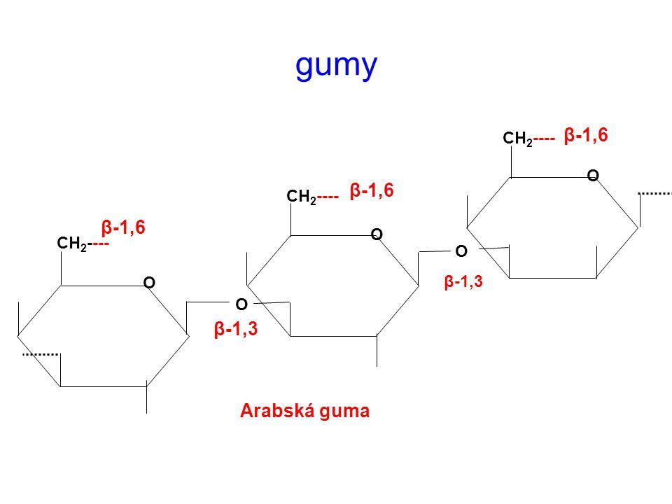 gumy Arabská guma CH 2 ---- O O O O O β-1,3 β-1,6