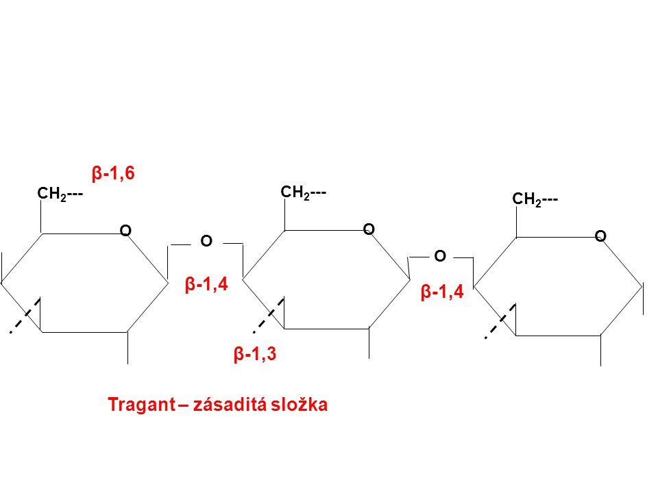 Tragant – zásaditá složka CH 2 --- O O O O O β-1,4 β-1,6 β-1,3