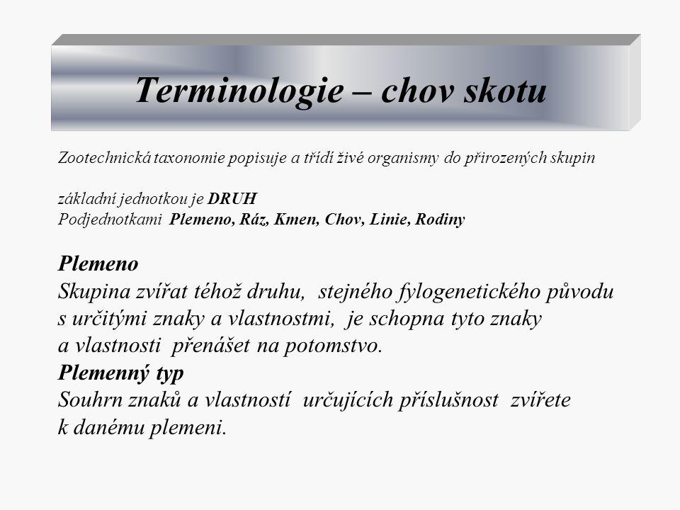 Terminologie – chov skotu Zootechnická taxonomie popisuje a třídí živé organismy do přirozených skupin základní jednotkou je DRUH Podjednotkami Plemen