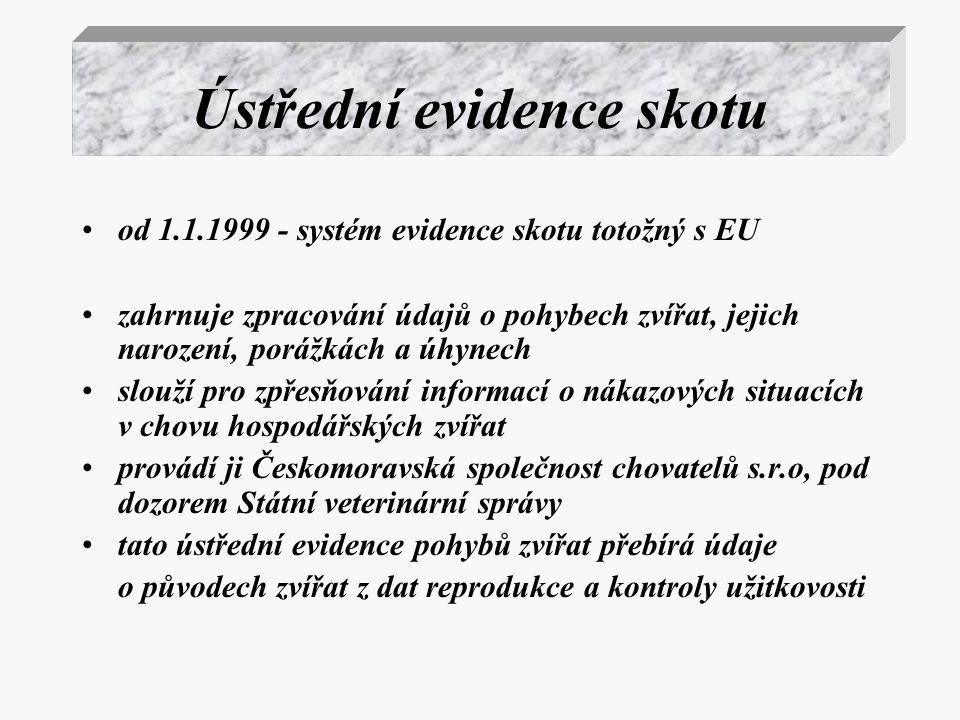 Ústřední evidence skotu od 1.1.1999 - systém evidence skotu totožný s EU zahrnuje zpracování údajů o pohybech zvířat, jejich narození, porážkách a úhy