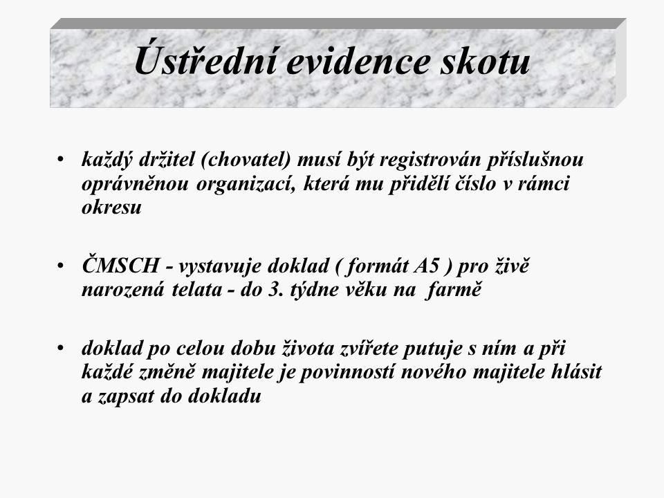 Ústřední evidence skotu každý držitel (chovatel) musí být registrován příslušnou oprávněnou organizací, která mu přidělí číslo v rámci okresu ČMSCH -