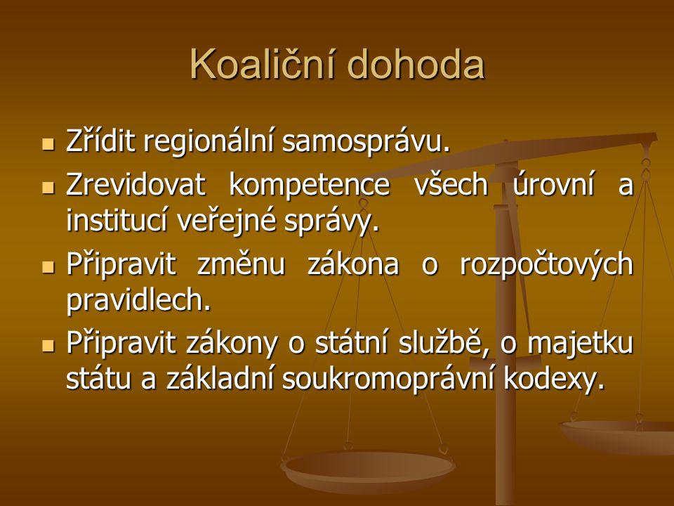 Koaliční dohoda Zřídit regionální samosprávu. Zřídit regionální samosprávu. Zrevidovat kompetence všech úrovní a institucí veřejné správy. Zrevidovat