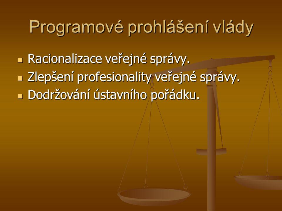 Programové prohlášení vlády Racionalizace veřejné správy. Racionalizace veřejné správy. Zlepšení profesionality veřejné správy. Zlepšení profesionalit