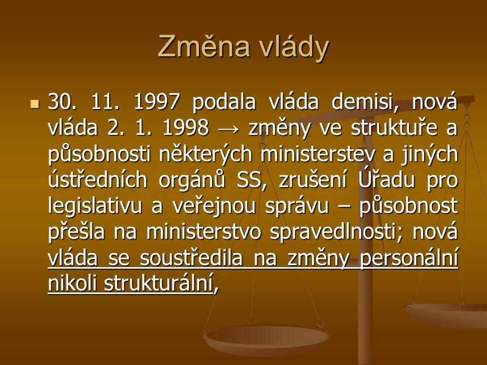 Změna vlády 30. 11. 1997 podala vláda demisi, nová vláda 2. 1. 1998 → změny ve struktuře a působnosti některých ministerstev a jiných ústředních orgán