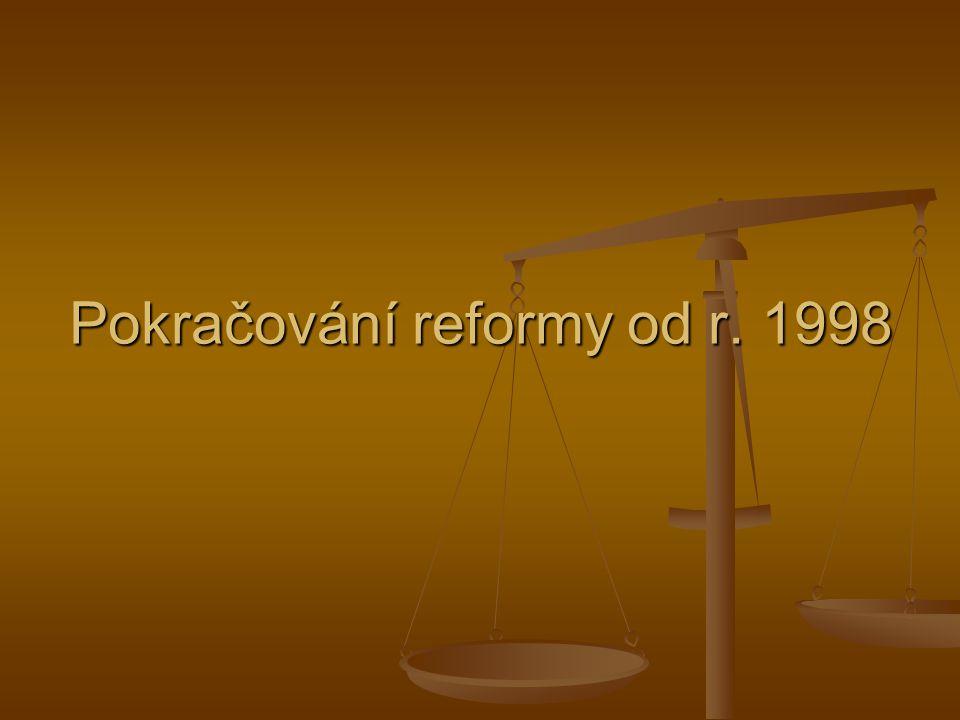Pokračování reformy od r. 1998