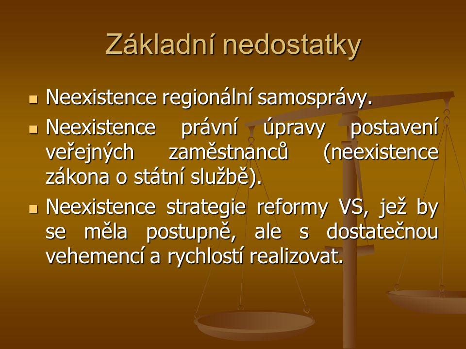 Základní nedostatky Neexistence regionální samosprávy. Neexistence regionální samosprávy. Neexistence právní úpravy postavení veřejných zaměstnanců (n