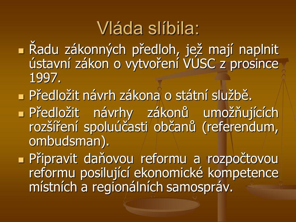 Vláda slíbila: Řadu zákonných předloh, jež mají naplnit ústavní zákon o vytvoření VÚSC z prosince 1997. Řadu zákonných předloh, jež mají naplnit ústav