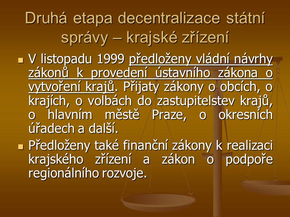 Druhá etapa decentralizace státní správy – krajské zřízení V listopadu 1999 předloženy vládní návrhy zákonů k provedení ústavního zákona o vytvoření k