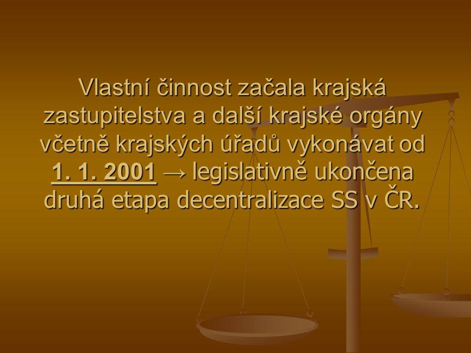 Vlastní činnost začala krajská zastupitelstva a další krajské orgány včetně krajských úřadů vykonávat od 1. 1. 2001 → legislativně ukončena druhá etap