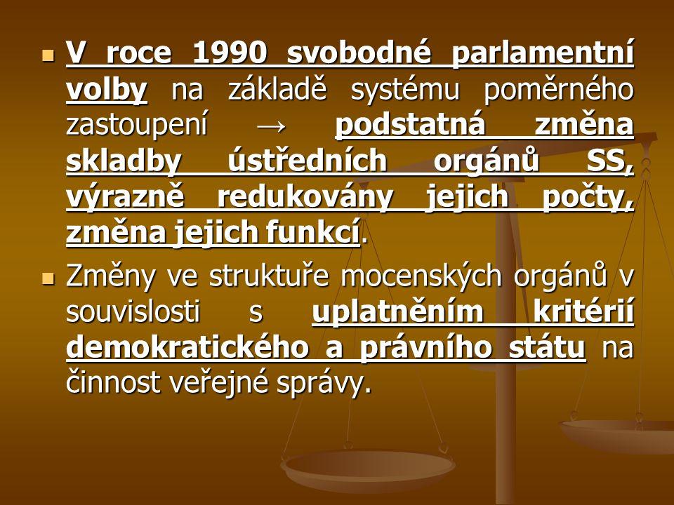 V roce 1990 svobodné parlamentní volby na základě systému poměrného zastoupení → podstatná změna skladby ústředních orgánů SS, výrazně redukovány jeji