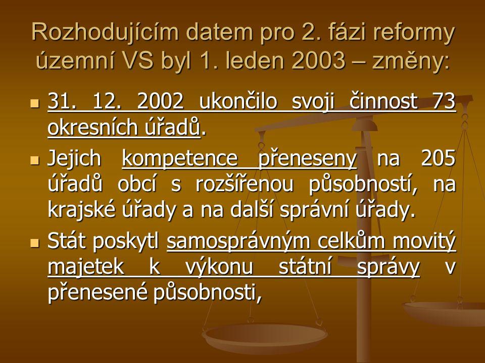 Rozhodujícím datem pro 2. fázi reformy územní VS byl 1. leden 2003 – změny: 31. 12. 2002 ukončilo svoji činnost 73 okresních úřadů. 31. 12. 2002 ukonč