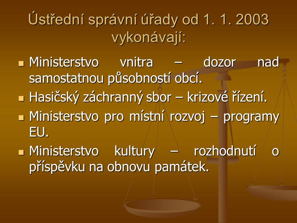 Ústřední správní úřady od 1. 1. 2003 vykonávají: Ministerstvo vnitra – dozor nad samostatnou působností obcí. Ministerstvo vnitra – dozor nad samostat