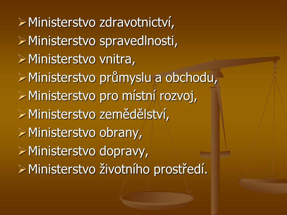  Ministerstvo zdravotnictví,  Ministerstvo spravedlnosti,  Ministerstvo vnitra,  Ministerstvo průmyslu a obchodu,  Ministerstvo pro místní rozvoj