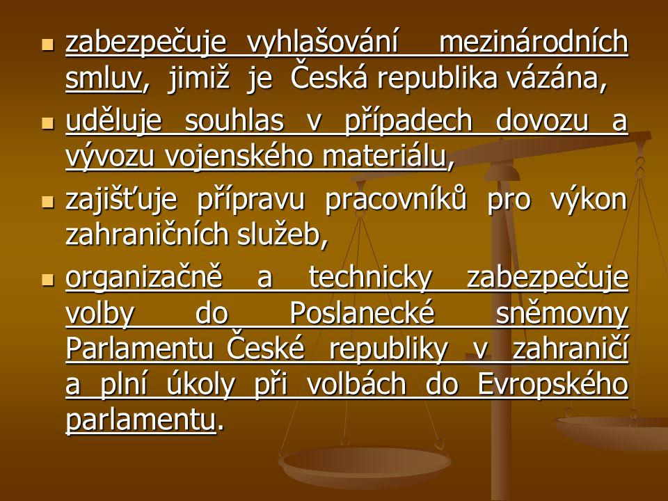 zabezpečuje vyhlašování mezinárodních smluv, jimiž je Česká republika vázána, zabezpečuje vyhlašování mezinárodních smluv, jimiž je Česká republika vá