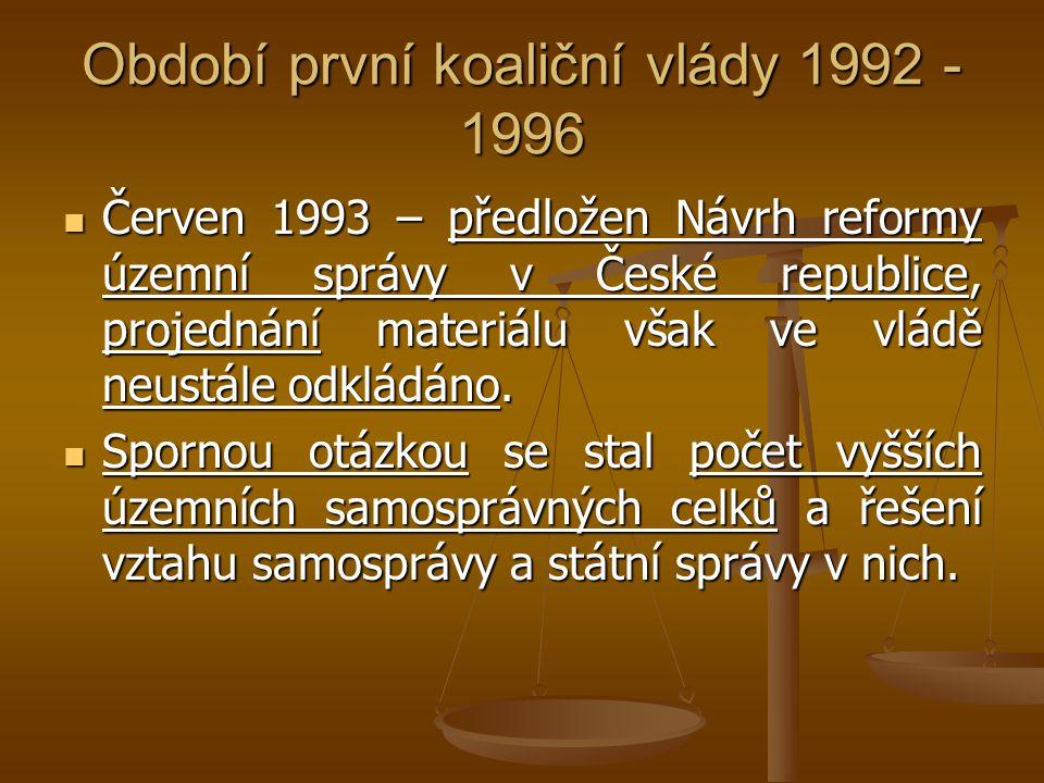 Období první koaliční vlády 1992 - 1996 Červen 1993 – předložen Návrh reformy územní správy v České republice, projednání materiálu však ve vládě neus