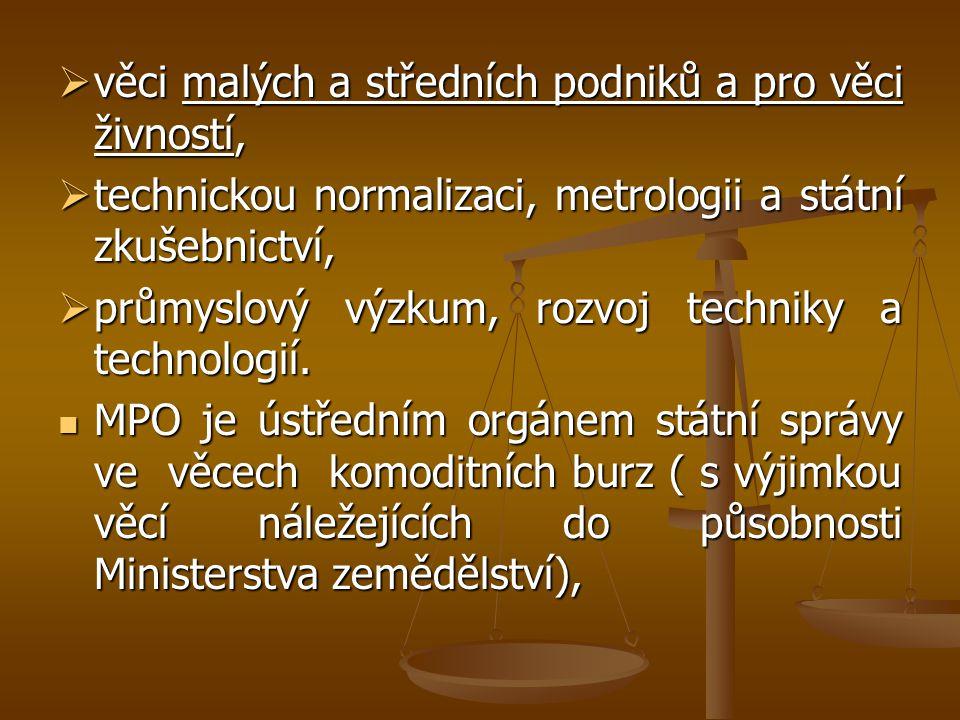  věci malých a středních podniků a pro věci živností,  technickou normalizaci, metrologii a státní zkušebnictví,  průmyslový výzkum, rozvoj technik
