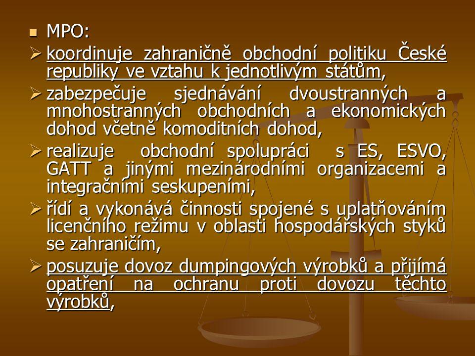 MPO: MPO:  koordinuje zahraničně obchodní politiku České republiky ve vztahu k jednotlivým státům,  zabezpečuje sjednávání dvoustranných a mnohostra