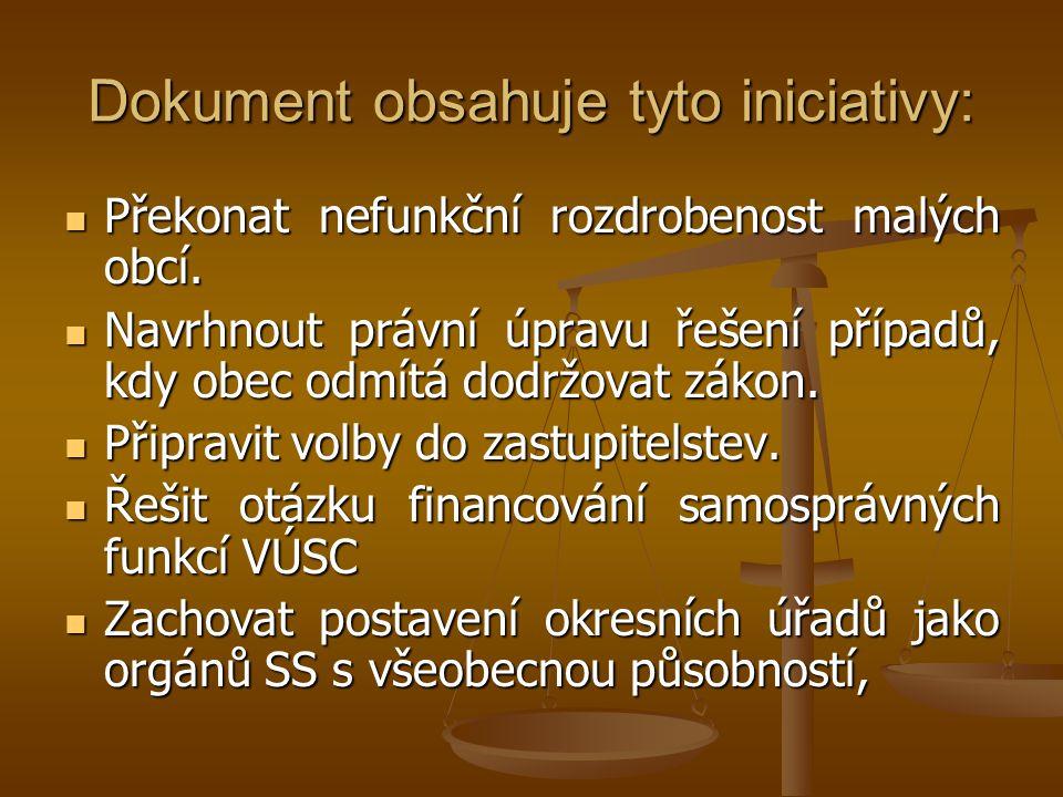 Dokument obsahuje tyto iniciativy: Překonat nefunkční rozdrobenost malých obcí. Překonat nefunkční rozdrobenost malých obcí. Navrhnout právní úpravu ř