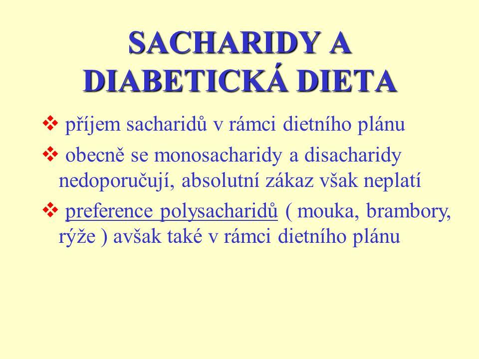 SACHARIDY A DIABETICKÁ DIETA  příjem sacharidů v rámci dietního plánu  obecně se monosacharidy a disacharidy nedoporučují, absolutní zákaz však neplatí  preference polysacharidů ( mouka, brambory, rýže ) avšak také v rámci dietního plánu