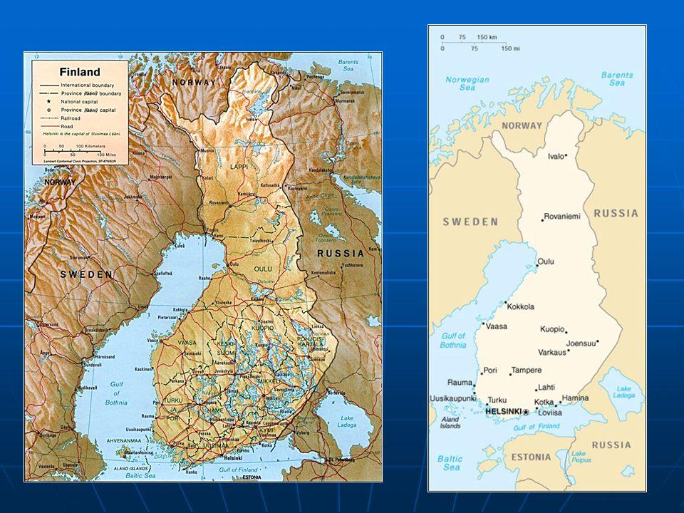 Přírodní podmínky Povrch tvoří nížiny a pahorkatiny Povrch tvoří nížiny a pahorkatiny Většina jezer Finské jezerní plošiny propojena (ledovcového původu) Většina jezer Finské jezerní plošiny propojena (ledovcového původu) Obyvatelstvo Většina na J země a ve městech Většina na J země a ve městech Finové, Švédové, Laponci Finové, Švédové, Laponci Protestanti Protestanti 2 úřední jazyky: finština, švédština 2 úřední jazyky: finština, švédština