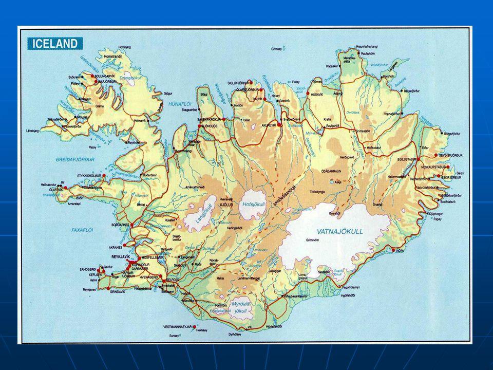 Přírodní podmínky Stát leží na stejnojmenném ostrově Stát leží na stejnojmenném ostrově Sopečný ostrov, tvořen oceánskou kůrou Sopečný ostrov, tvořen oceánskou kůrou Jedná se o část Středooceánského hřbetu, který vystoupil nad hladinu Jedná se o část Středooceánského hřbetu, který vystoupil nad hladinu Mnoho aktivních sopek (Hekla), gejzírů, horkých pramenů, ledovců – 12% povrchu (Vatnajökull) Mnoho aktivních sopek (Hekla), gejzírů, horkých pramenů, ledovců – 12% povrchu (Vatnajökull)