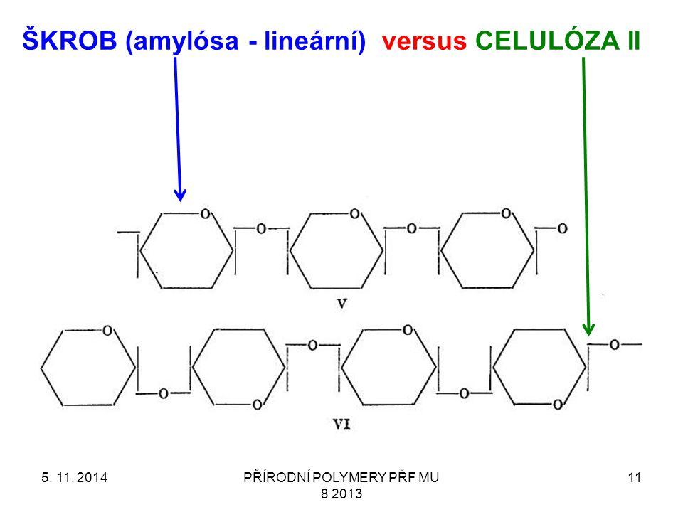 5. 11. 2014PŘÍRODNÍ POLYMERY PŘF MU 8 2013 11 ŠKROB (amylósa - lineární) versus CELULÓZA II