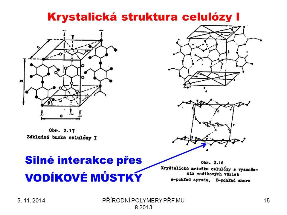 5. 11. 2014PŘÍRODNÍ POLYMERY PŘF MU 8 2013 15 Krystalická struktura celulózy I Silné interakce přes VODÍKOVÉ MŮSTKY