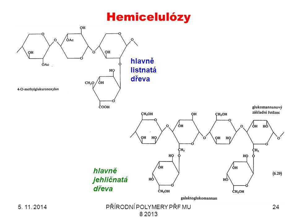 Hemicelulózy 5. 11. 2014PŘÍRODNÍ POLYMERY PŘF MU 8 2013 24 hlavně jehličnatá dřeva hlavně listnatá dřeva
