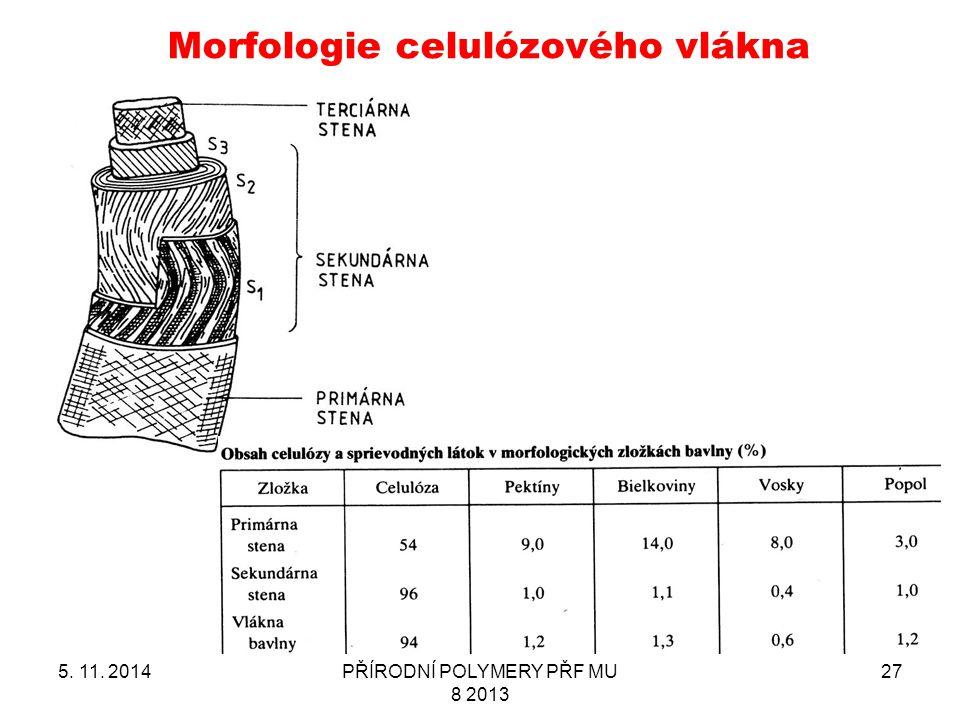 Morfologie celulózového vlákna 5. 11. 2014PŘÍRODNÍ POLYMERY PŘF MU 8 2013 27
