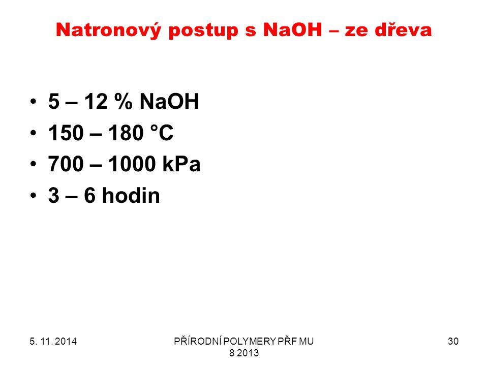 Natronový postup s NaOH – ze dřeva 5. 11. 2014PŘÍRODNÍ POLYMERY PŘF MU 8 2013 30 5 – 12 % NaOH 150 – 180 °C 700 – 1000 kPa 3 – 6 hodin