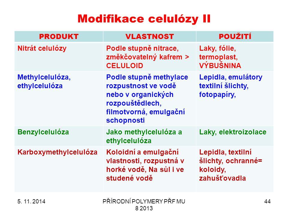 Modifikace celulózy II PRODUKTVLASTNOSTPOUŽITÍ Nitrát celulózyPodle stupně nitrace, změkčovatelný kafrem > CELULOID Laky, fólie, termoplast, VÝBUŠNINA